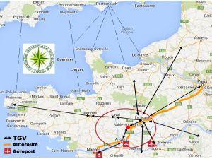 Carte de l'accessibilité de Sablé sur Sarthe