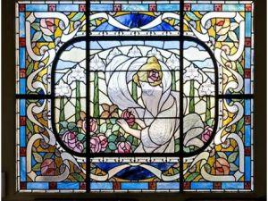 Vitrail présenté au Château de Sainte-Suzanne